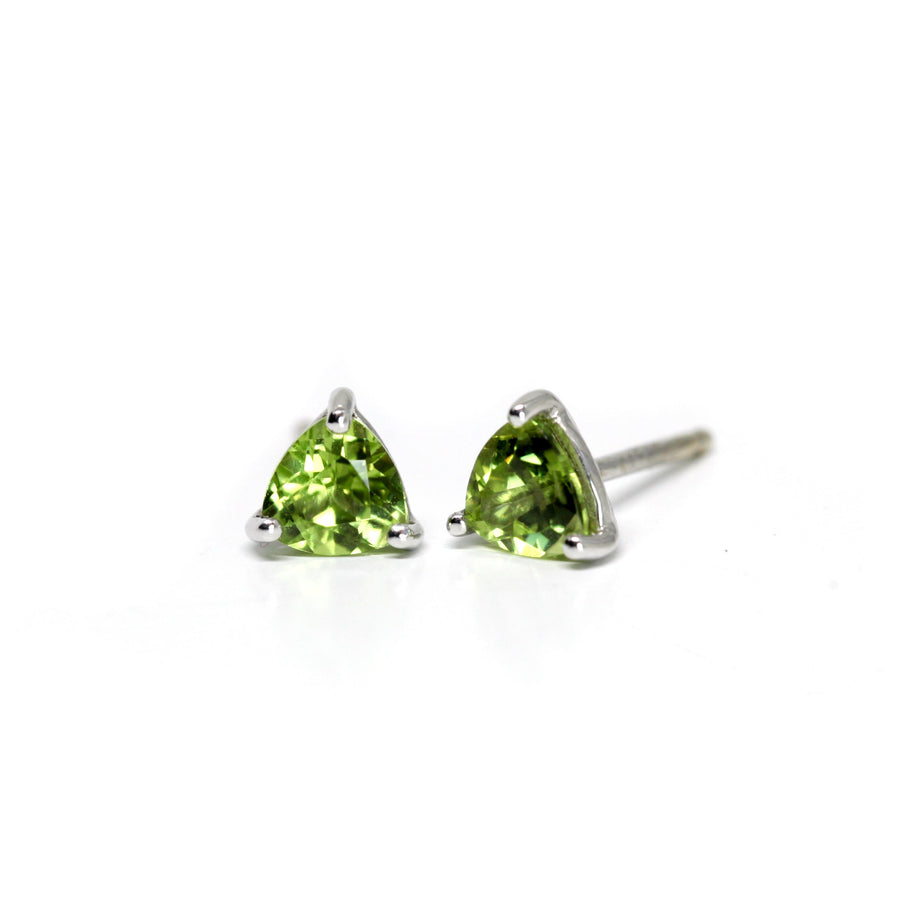 Peridot Trillion Stud Earrings