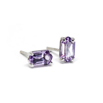 Stud Earrings Amethyst Baguette