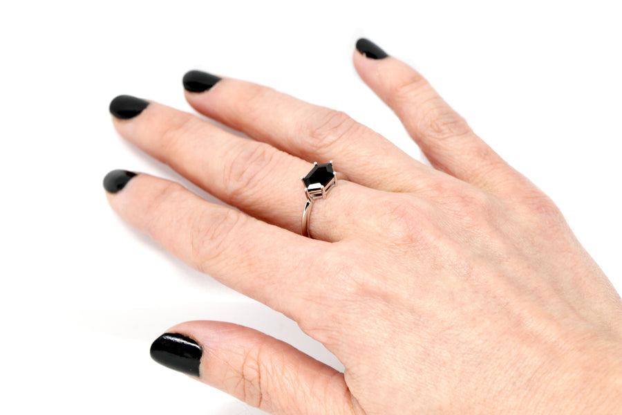 Hexagonal Black Spinel White Gold Ring