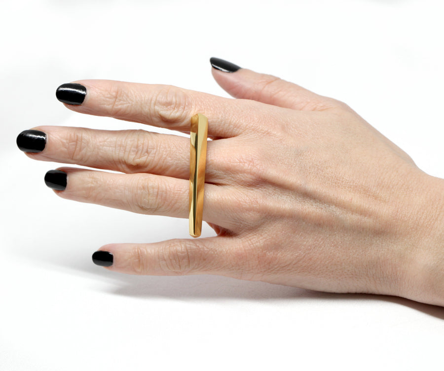 Gold Vermeil Short Double Finger Ring