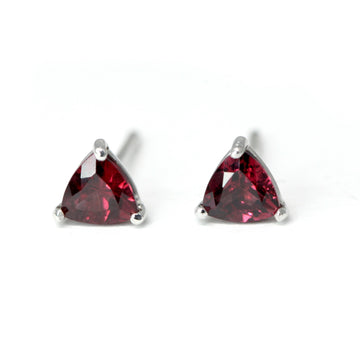 Red Trillion Rhodolite Garnet Stud Earrings