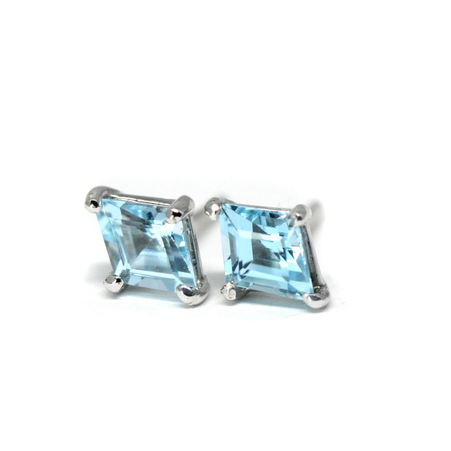 Lozenge Blue Topaz Stud Earrings - Small
