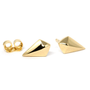 Small studs earrings vermeil gold yellow gold silver plated minimalist designer earrings montreal made in canada
