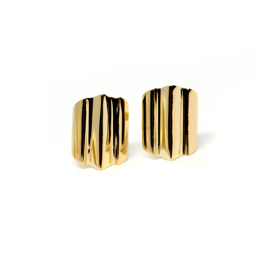Front view vermeil gold studs Bena Jewelry Spin Collection Silver Yellow Gold Plated Studs Minimalist Shape Custom Made in Montreal Canada Little Italy Modern Jewelry