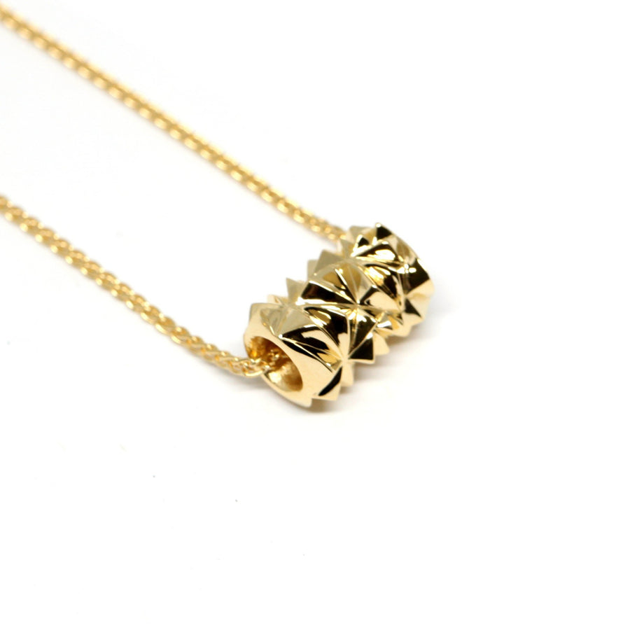 Gold Plated Small Pyramid Tube Pendant