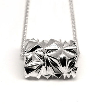 Silver Large Pyramid Tube Pendant