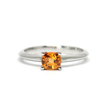 Warm Orange Cushion Spessartite Garnet White Gold Ring