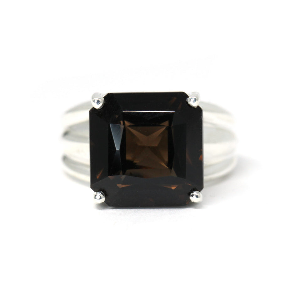 Large Octagon Smoky Quartz Silver Ring