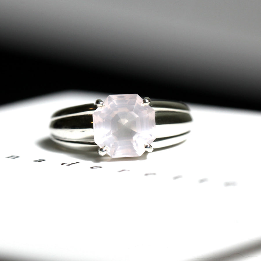 Large Octagon Rose Quartz Silver Ring