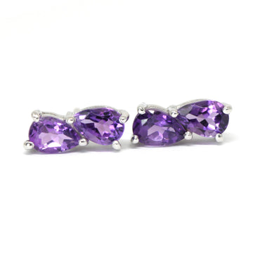 Pear Cut Double Amethyst Stud Earrings