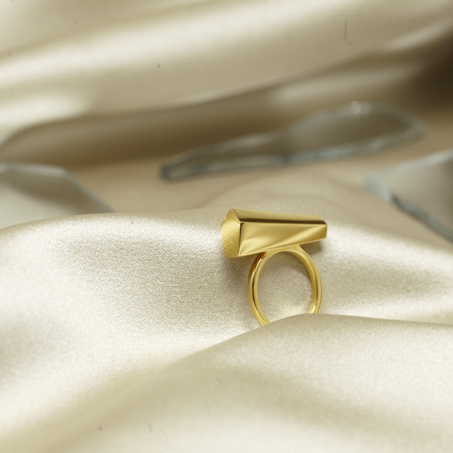 Statement jewelry sturdy ring gold plated fine jewelry new design