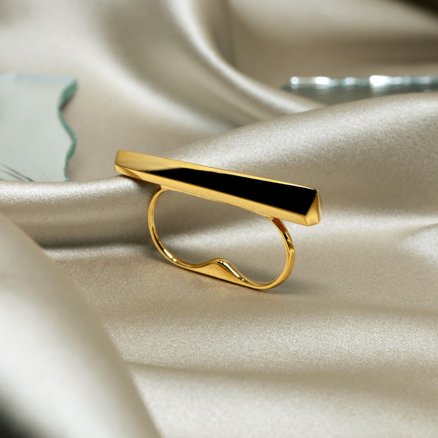 Statement short double finger gold plated ring