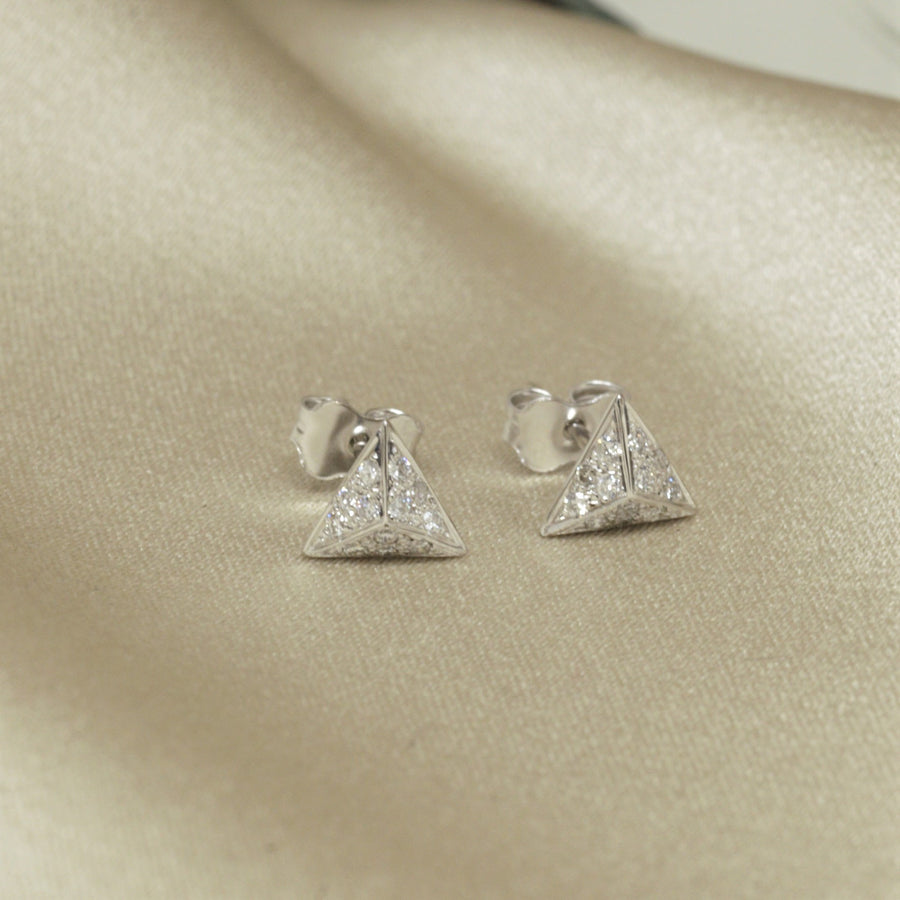 White gold and diamond earrings. Fine Jewelry made in Canada