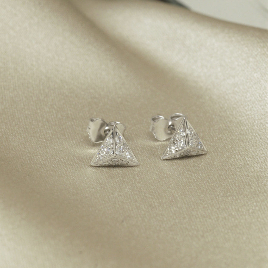 Pyramidal white gold and diamond stud earrings Bena Jewelry Made in Montreal Canada form Fancy Edgy Collection