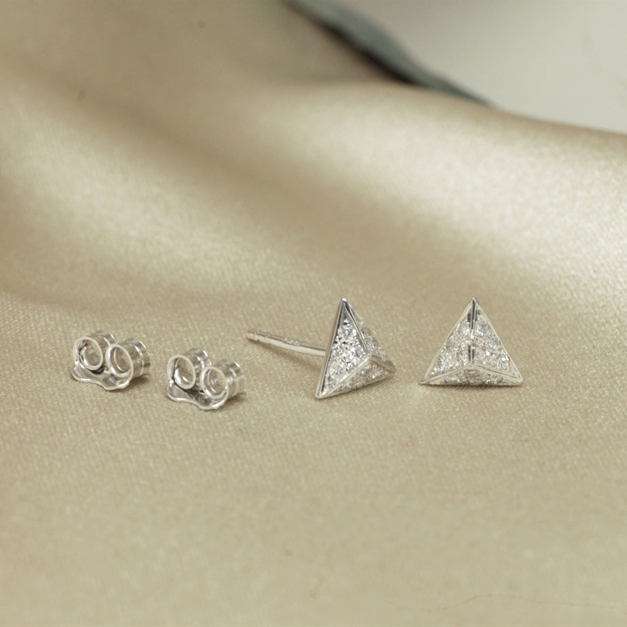 Fancy Edgy Collection Pyramidal White Gold Stud Earrings Bena Jewelry Designer Made in Montreal Canada
