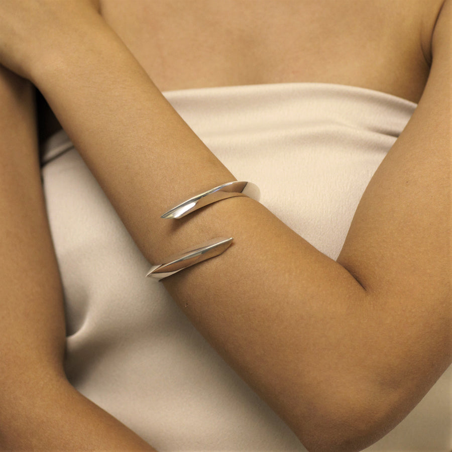 Woman wearing statement bracelet silver jewelry bracelet