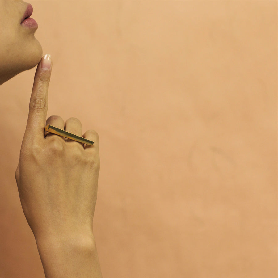 Gold Plated Short Double Finger Ring