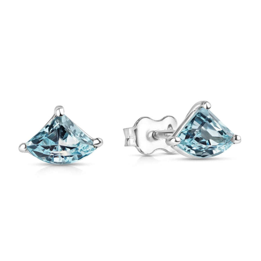 Fancy shape blue topaze Gemstone stud earrings sterling silver