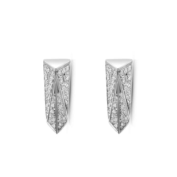 White gold and diamond stud earrings Bena Jewelry made in Montreal Canada.