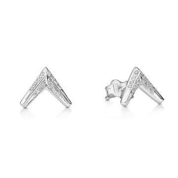 White gold and diamond earrings arrow shape Bena Jewelry fine jewelry made in Montreal Canada