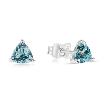 Gemstone stud earrings sterling silver trillion cut blue topaze