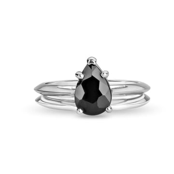 Pear cut black spinel gemstone white gold ring bridal gemstone gold ring