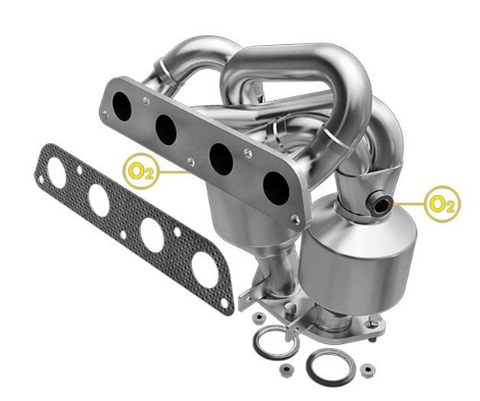 MagnaFlow 24066 - Heavy Metal Stainless Steel Exhaust Manifold with Integrated Catalytic Converter
