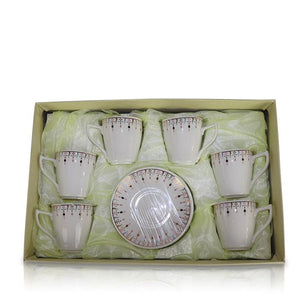 Tea Set (6 Cups, 6 Plates) - Smooth Diamond Design