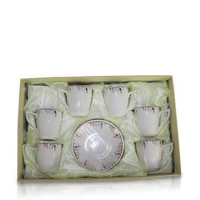 Tea Set (6 Cups, 6 Plates) - Smooth Branch Design