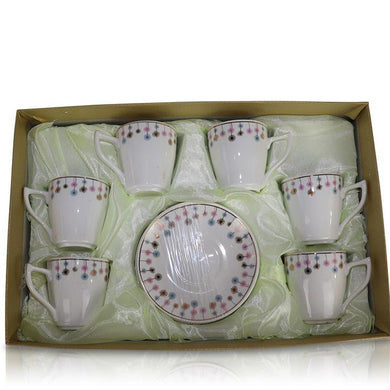 Tea Set (6 Cups, 6 Plates) - Smooth Flower Design
