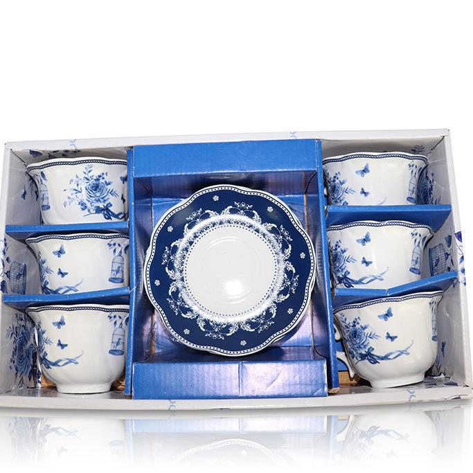Tea Set (6 Cups, 6 Plates) - Blue/White China