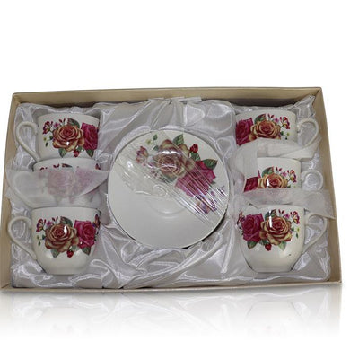 Tea Set (6 Cups, 6 Plates) - Big Flowers