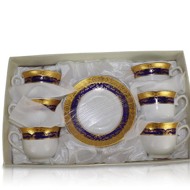 Tea Set (6 Cups, 6 Plates) - Gold/Blue China