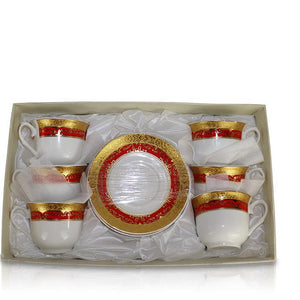 Tea Set (6 Cups, 6 Plates) - Gold/Red China