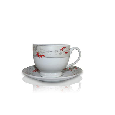 Tea Set (6 Cups, 6 Plates) - Red Vine Design