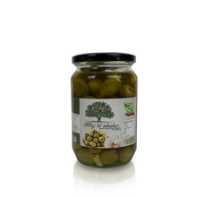 Load image into Gallery viewer, Green Olives filled w/ Garlic in Salade Oil