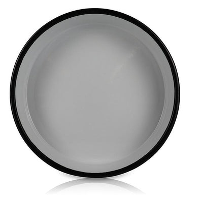 White Small Platter with Black Ring