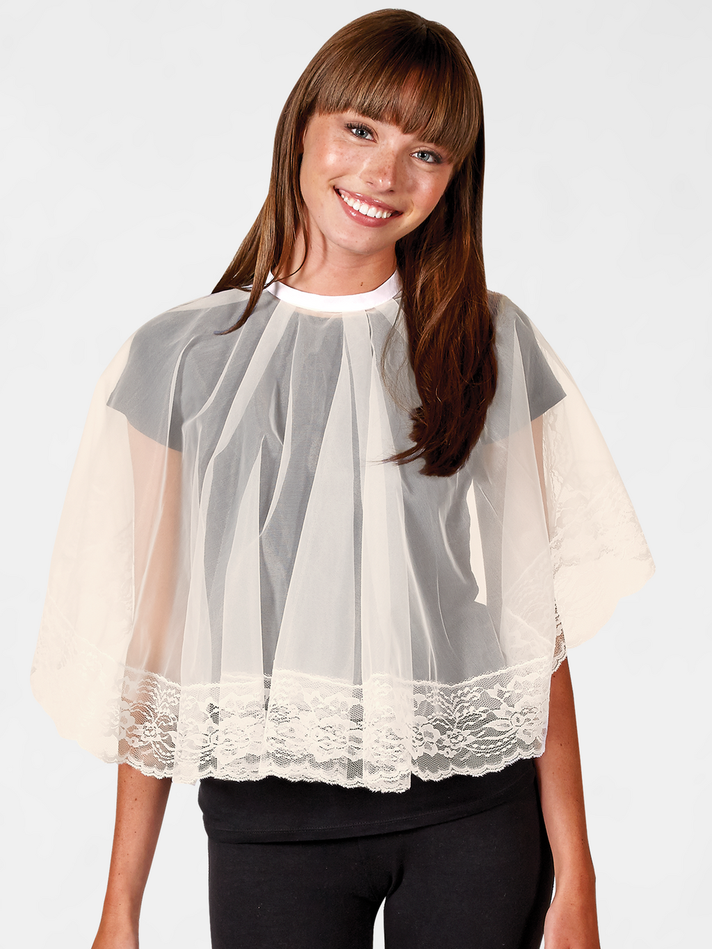 Wil-o-Wisp Comb-Out Cape, Short Lace Hair Styling Cape Beige | Betty Dain Salon Apparel