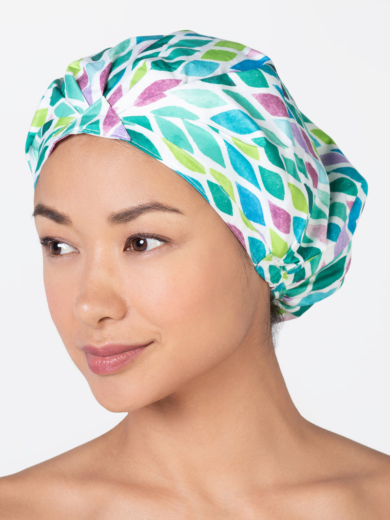 Betty Dain Shower Turban with Aqua Pattern