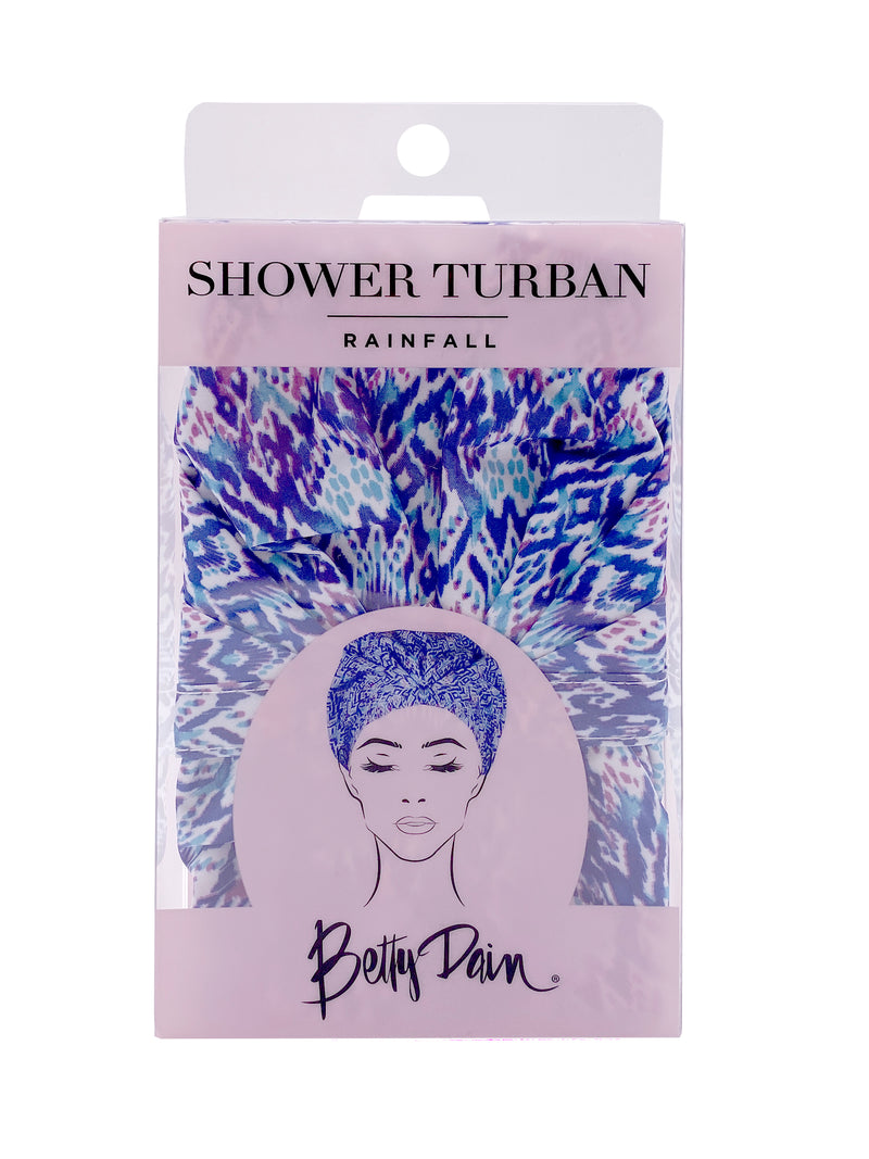 Betty Dain Shower Cap | Turban Shower Cap with Blue Pattern