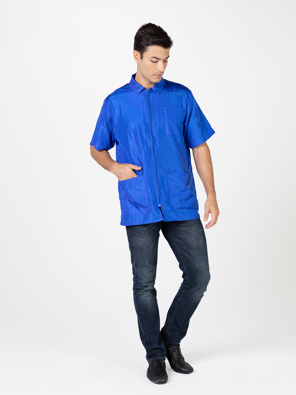 Betty Dain Creations Nylon Barber Jacket in Royal Blue