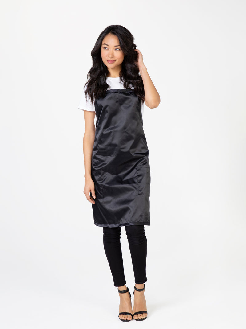 Apron for Stylists Salons, Silky Black Satin