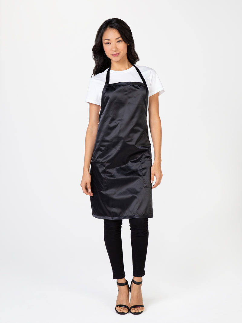 Black Satin Apron for Stylists and Cosmetology Professionals