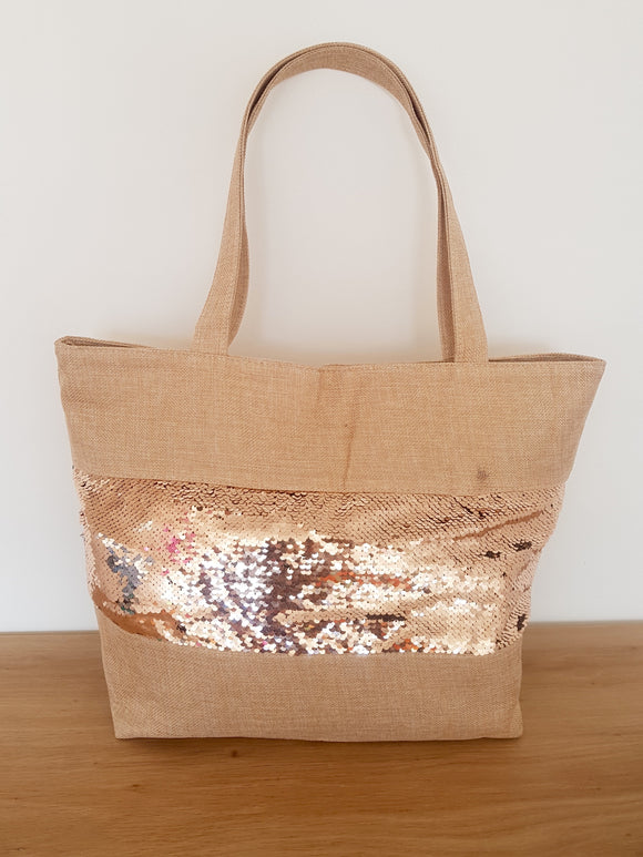 Reversible Sequin Woven Beach Bag