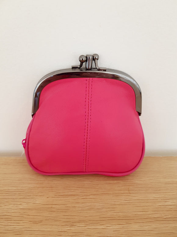 Real Leather Coin Purse in Hot Pink
