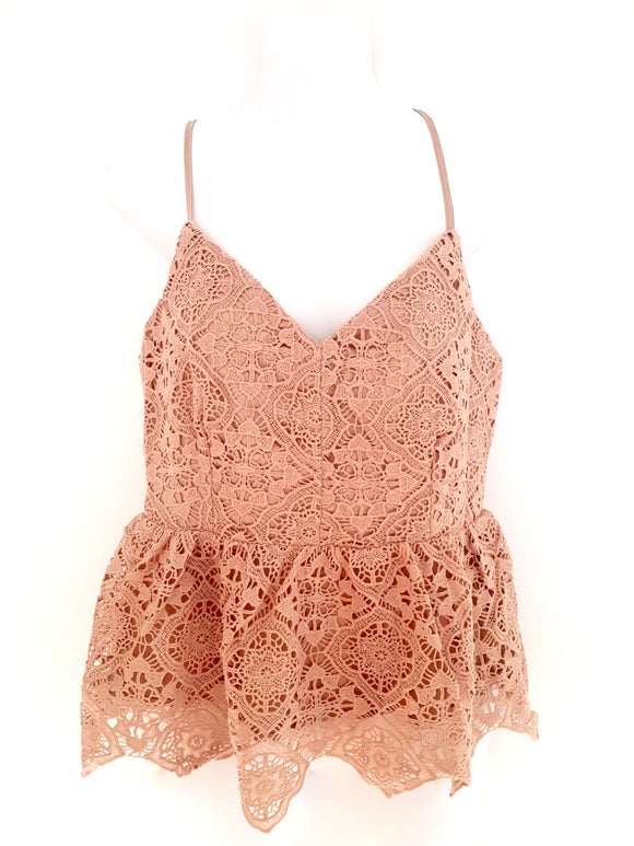 Crochet Cami with Peplum Hem