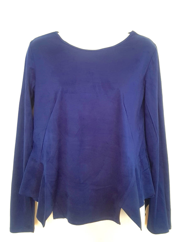 Ink Blue Top with Irregular Hem