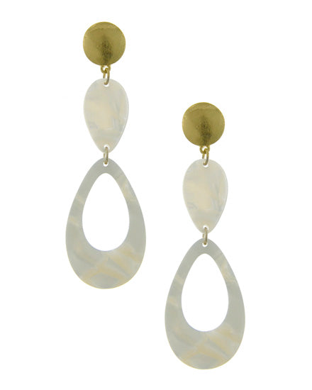 White and Gold Resin Earrings