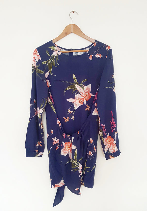Navy Dress With Floral Print