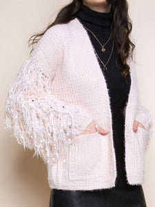 Knit Cardigan with Fringed Sleeves